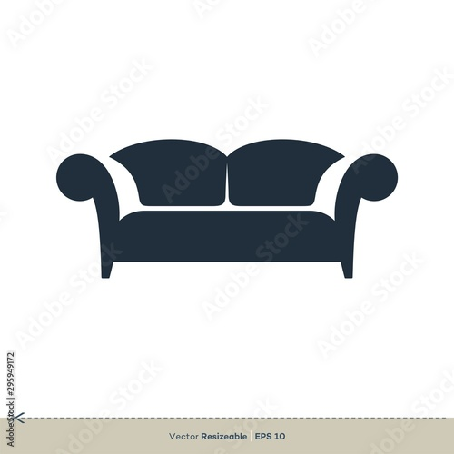 Carta da parati Sofa, Armchair Icon Vector Logo Template Illustration Design