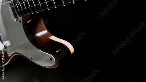 electric guitar closeup . darck background - 295949379