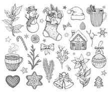 Christmas Hand Drawn Doodle Icon Set. Merry Xmas Happy New Year Symbol, Retro Sketch Style. Cute Emblem Of Sock, Snowman, Cookie, Santa Hat, Bow. Vector Illustration Isolatated On White Backgraund