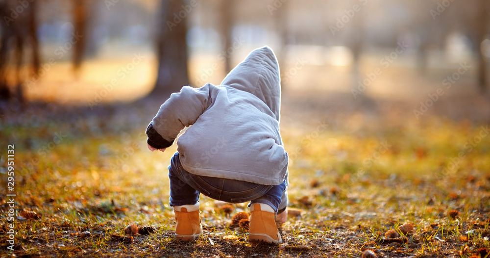 Fototapety, obrazy: Toddler boy playing outdoors