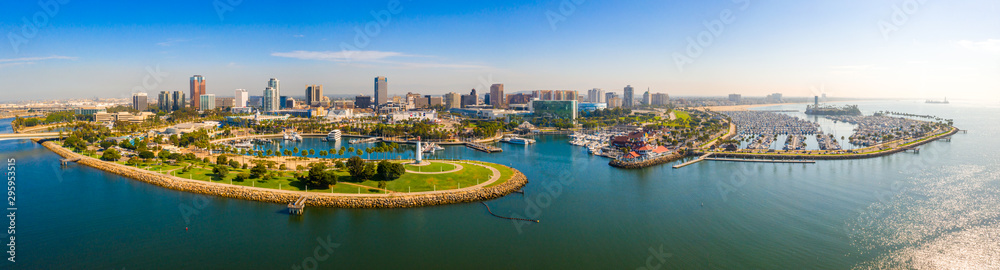 Fototapety, obrazy: Aerial panoramic view of the Long Beach coastline, harbour, skyline and Marina in Long Beach with Palm Trees,. Beautiful Los Angeles.