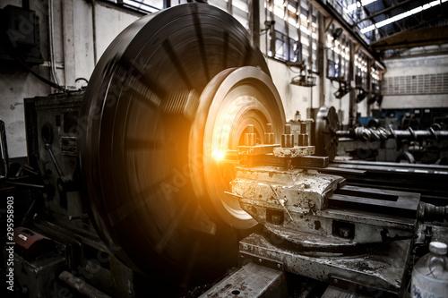 Obraz close up CNC milling machine working process  on metal industry - fototapety do salonu