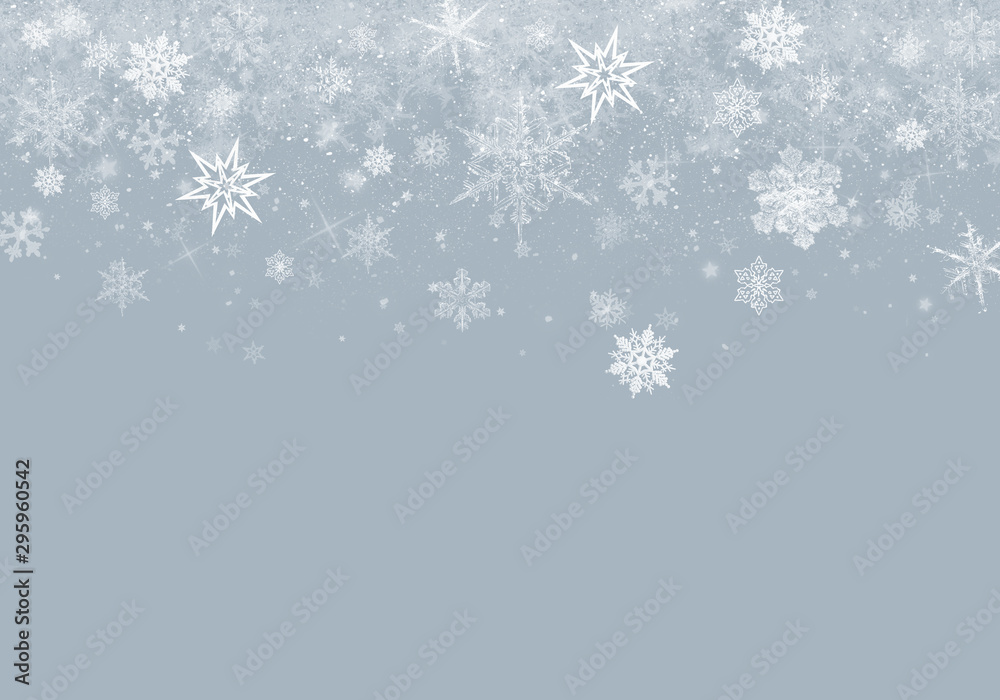 Fototapety, obrazy: Grey Winter Background with snowflakes for your own creations