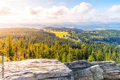 Foto op Plexiglas Grijs Lookout point on White Rock, Czech: Bila Skala, near Prichovice in Jizera Mountains, Czech Republic