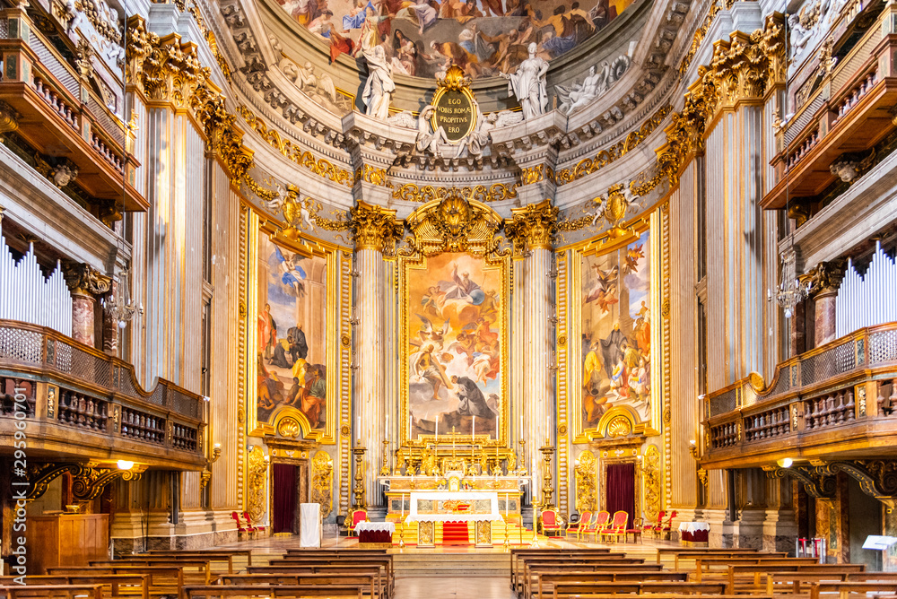 Fototapeta Picturesque interior of church of St. Ignatius of Loyola at Campus Martius