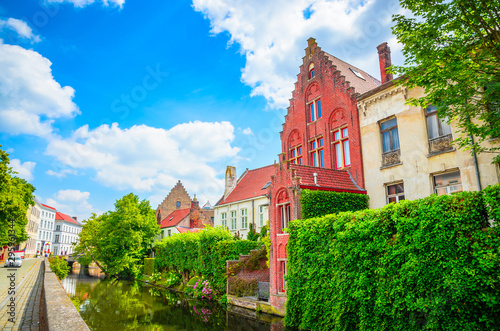 Wall Murals Bridges Beautiful canal and traditional houses in the old town of Bruges (Brugge), Belgium