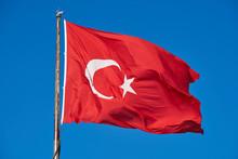 Turkish Flag And Blue Sky