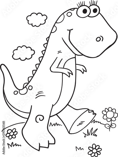 Photo sur Toile Cartoon draw Cute Dinosaur Illustration Vector Art