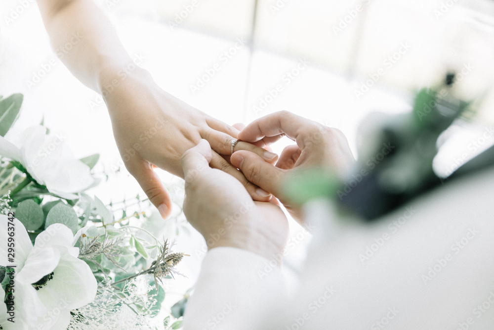 Fototapeta 指輪の交換 結婚式 wedding リング