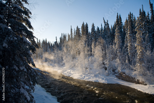 Poster Rivière de la forêt Steam rises above river rapids on a cold and snowy winter day