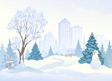Snowy City Park With A Cute Sn...