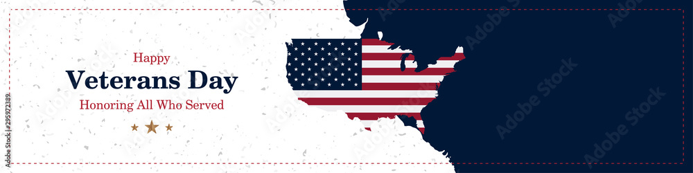 Fototapeta Happy Veterans Day. Greeting card with USA flag and map on background with texture. National American holiday event. Flat vector illustration EPS10