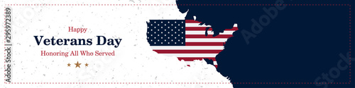 Obraz Happy Veterans Day. Greeting card with USA flag and map on background with texture. National American holiday event. Flat vector illustration EPS10 - fototapety do salonu