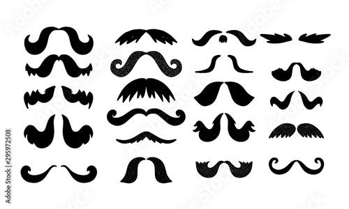 Vector moustache set. Man beard element. Hipster hair decoration Wallpaper Mural