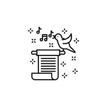 Ballad Scroll Bird Music Icon. Element Of Literature Icon