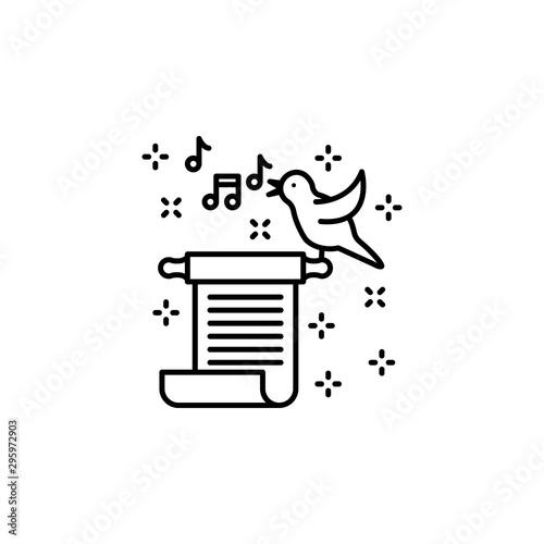 Ballad scroll bird music icon. Element of literature icon Canvas Print