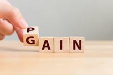 Pain Or Gain Concept, Hand Fli...