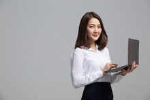 Business Woman Working Online On A Laptop