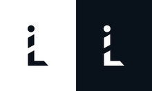 Modern Abstract Letter IL Logo. This Logo Icon Incorporate With Two Abstract Shape In The Creative Process.