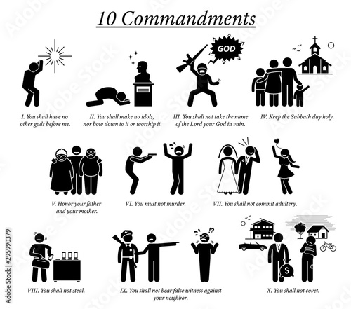 Photographie The 10 Commandment icons and pictogram
