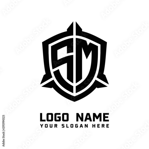Foto  initial SM letter with shield style logo template vector