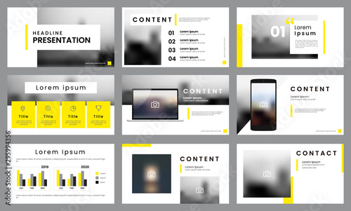 Fototapeta Yellow and white presentation template layout. Business data visualization obraz