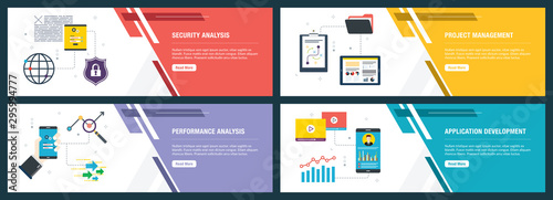 Internet banner set of security, project management, performance and application icons.