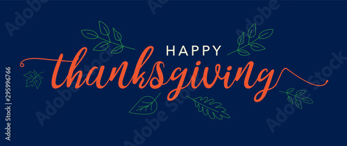 Vászonkép Happy Thanksgiving Text Vector Banner with Leaves Illustration and Blue Backgrou