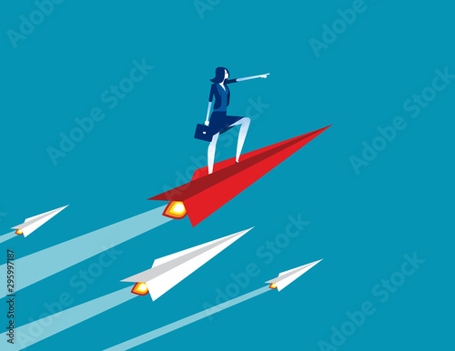 Businesswoman up with paper plane. Concept business growth vector illustration, Successful, Achievement Wall mural