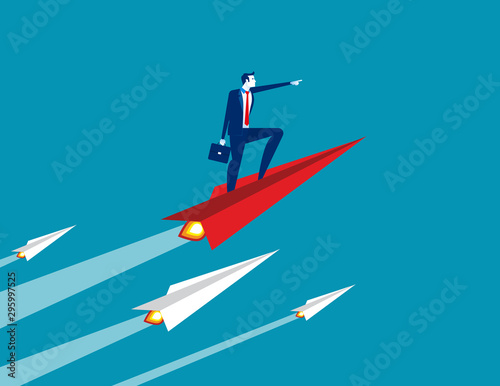 Businessman up with paper plane. Concept business growth vector illustration, Successful, Achievement Wall mural