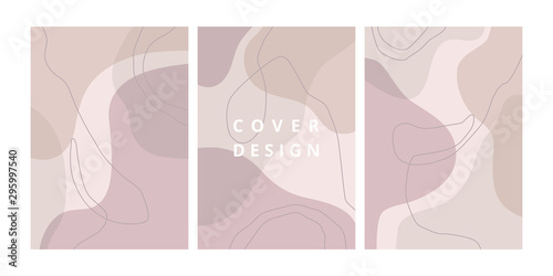 Fototapety, obrazy: Fashion set of abstract backgrounds with organic shapes and hand draw line in pastel colors. Modern design template with space for text. Minimal stylish cover for bbranding design. Vector illustration