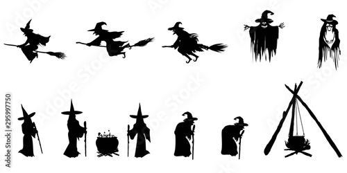 Fototapeta  Set of silhouette witch on white background. Halloween concept.