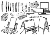 Hand Drawn Art Tools And Suppl...