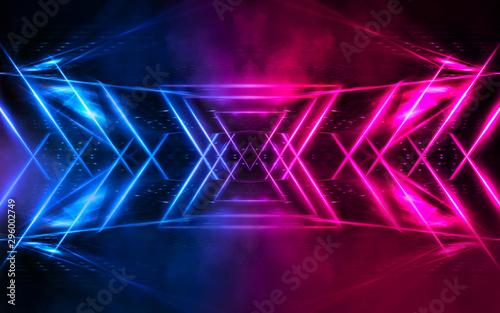 Fotobehang Fractal waves Dark empty scene, blue and pink neon light, spotlight, smoke, night view, rays. Night view. Dark futuristic neon background