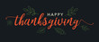 Happy Thanksgiving Calligraphy Text with Illustrated Leaves Over Dark Gray Background, Horizontal Vector
