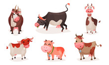 Set Of Cute Cartoon Cows. Vect...