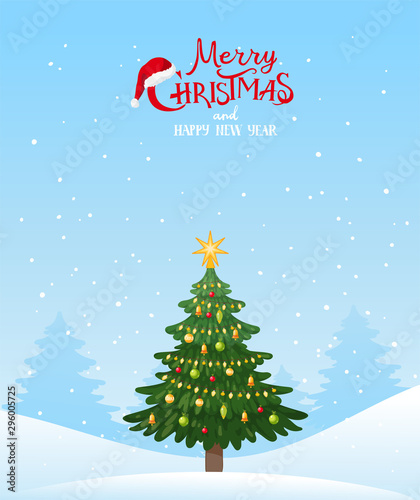 Spoed Fotobehang Lichtblauw Christmas background for cards and greetings. Decorated Christmas tree in a winter snowy forest. New Year template in flat cartoon style. Stock vector.
