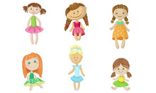 Set Of Fabric Dolls In Dresses...