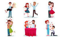 Several Pairs Of Lovers Men And Women. Vector Illustration.