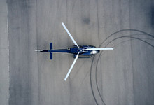 Top View Of Helicopters At The Airport