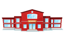 School In Red Color, Education...