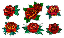 Six Beautiful Roses In Old Tat...