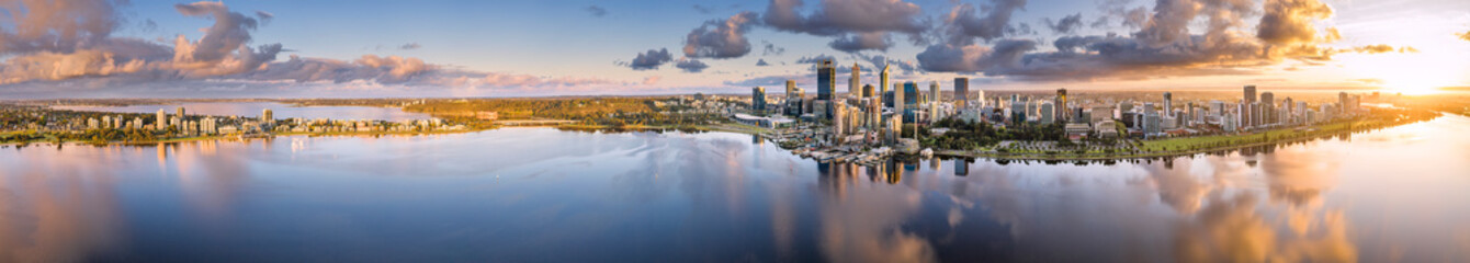 Ultra wide aerial panoramic view of the beautiful city of Perth at sunrise