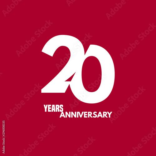 Fotografia  20 years anniversary vector icon, logo