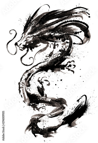 Fotografia, Obraz A Chinese dragon with glowing eyes and a blotchy mane painted in ink