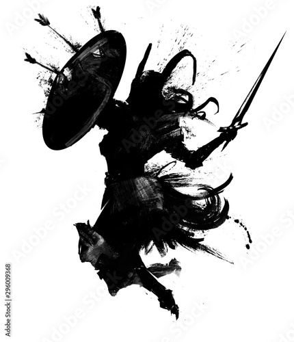 The silhouette of a Valkyrie in a horned helmet with a shield and sword attacks in a jump .  2D illustration .