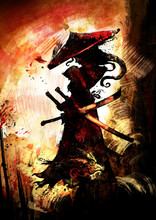 A Female Samurai With Demonic Horns In A Pointed Hat, And Three Swords Against The Orange Sunset. 2d Illustration .