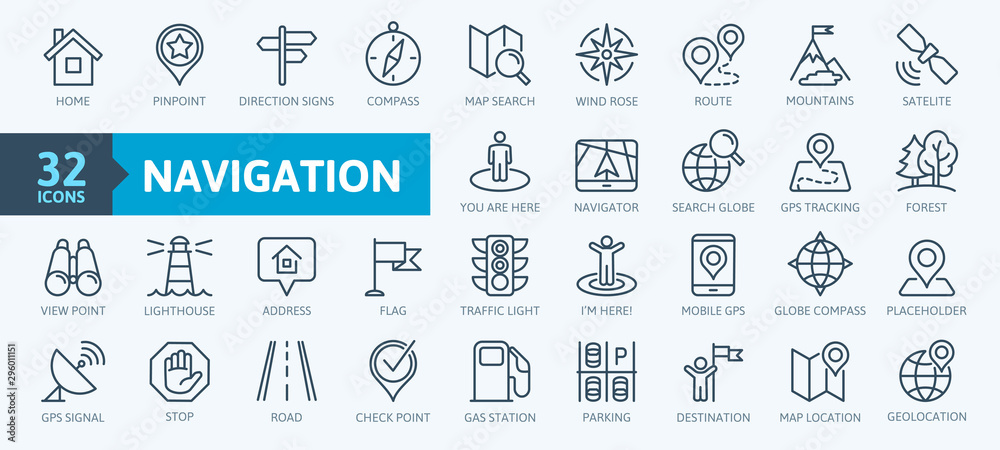 Fototapeta Navigation, location, GPS elements -  thin line web icon set. Outline icons collection. Simple vector illustration. - obraz na płótnie