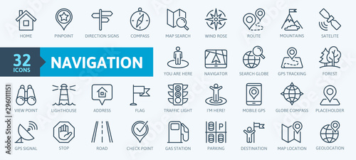 Fotomural Navigation, location, GPS elements -  thin line web icon set