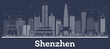 Outline Shenzhen China City Skyline with White Buildings.